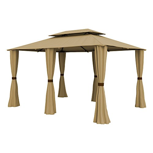 PARAMONDO-Comfort-Gazebo-Pabelln-de-jardn-Cenador-resistente-al-agua-4-x-3m-incl-paredes-laterales-beige
