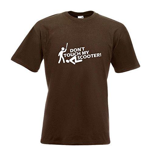KIWISTAR - Dont touch Scooter Design 2 T-Shirt in 15 verschiedenen Farben - Herren Funshirt bedruckt Design Sprüche Spruch Motive Oberteil Baumwolle Print Größe S M L XL XXL Chocolate
