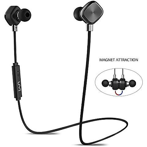 UMi Auricolare Wireless Cuffie Bluetooth Magnetiche Auricolari In Ear Senza FiliImpermeabile IPX6 Protezione Liquidi Con Tempo Di Riproduzione 8 Ore Per Smartphone Iphone e Android, PC, MP3, Tablet - Nero