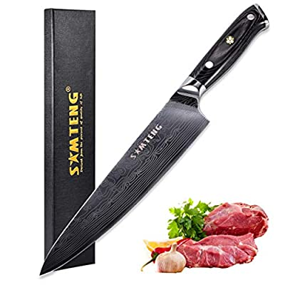 8 inch Chef's Knife - SMTENG High Carbon German Steel Kitchen Knife - Extra Sharp Blade with Full Tang Design Ergonomic Handle - Professional Cooking Carving Knives