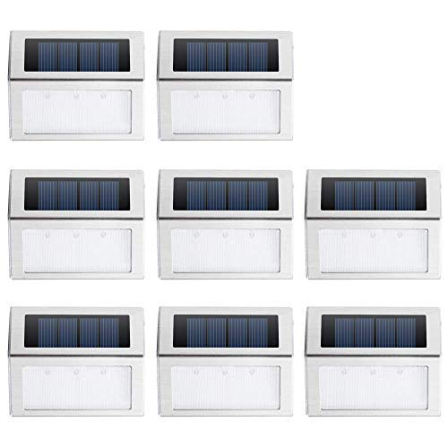 JSOT Solarlampen für Außen, IP44 Wasserdichte Rostfreier Stahl Garten Licht Sicherheitslicht für Terrasse Treppe Garten Draussen Straße (Weißes Licht, 8er Pack) -