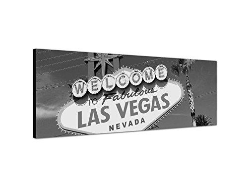Weiß-wand-kunst-himmel Schwarz Und (Keilrahmenbild Panoramabild SCHWARZ / WEISS 150x50cm Las Vegas Schild Reklame Himmel Palmen)