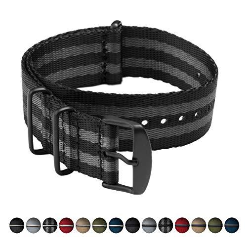 Archer Watch Straps   Correas NATO de Nylon Cinturón de Seguridad   Correa de Reloj Diseño Militar   Negro y Gris (James Bond)/Piezas Metálicas en Negro, 20mm