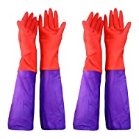 Esoes Aquarium Gloves,Arm Length Rubber Gloves,Waterproof Reuseable,Household Gloves for Dish Clothes Washing,2 Pairs