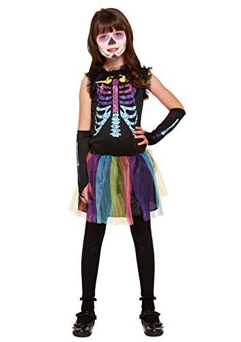 Emmas Wardrobe Tag der Toten mexikanischen Outfit - Mit Skeleton Kleid, Tutu und Armabdeckungen - Steampunk Kostüm für Halloween oder Parades - hochwertige Materialien - Ages 4-12 (4-6 Years)