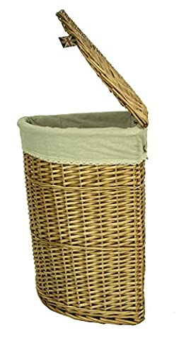 east2eden Honey Lidded Wicker Corner Linen Laundry Bin Storage Basket