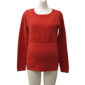 Organic Cotton100% Simple Long Sleeve Nursing and Maternity Knit top Orange UK size 12-14