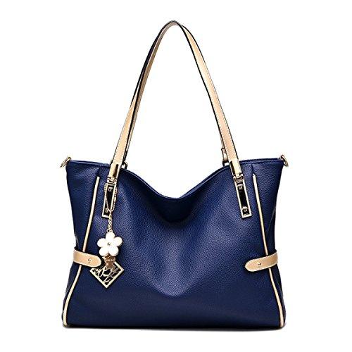 Damen Handtasche Mode Weichen Tasche Messenger Bag Schultertasche Darkblue