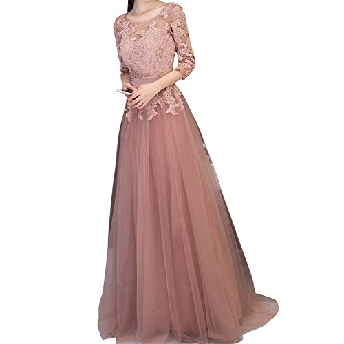 Charmant Damen Dunkel Rosa Spitze langes Abendkleider Promkleider  Ballkleider Festlichkleider Neuheit Dunkel Rosa