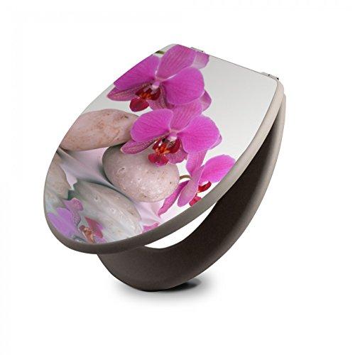 banjado Design Toilettensitz in Taupe   WC-Sitz Holz MDF 42,3x3,5x37,5cm   Klodeckel mit Edelstahl Scharnieren   Toilettendeckel mit Motiv Orchidee