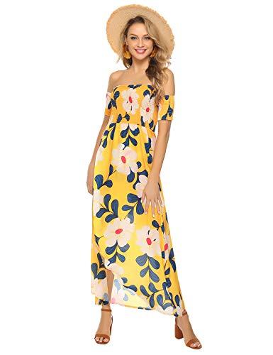 Abollria Damen Sommer Maxikleid Schulterfreie Blumen Print Strandkleider mit Schlitze Vorne A-Lienie Strandkleider für Urlaub,Gelb,M