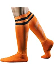 Longra Los hombres del deporte del fútbol del balompié calcetines largos, calcetines altos de béisbol rayadas (Naranja)