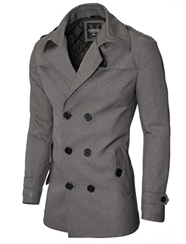 MODERNO Mantel Herren Slim Fit Business Doppelreiher (MOD13538C) Grau EU L