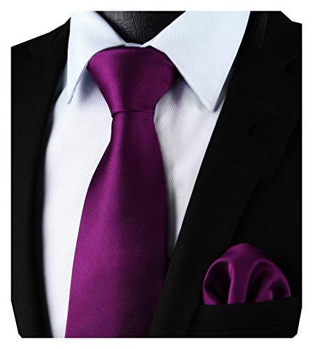 Enlision Cravatta di colore viola e Pocket Piazza cravatta Set per Uomo