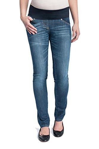 Christoff Damen Schwangerschaftsjeans Umstandsjeans Five-Pocket-Jeans - Unterbauch Skinny Röhrenjeans - Weiches Bauchband - 100/87/8 - Blau - Gr.42 (Umstandsjeans Unterbauch)