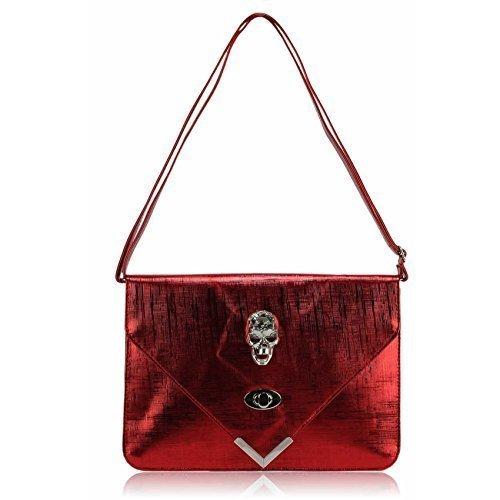 TrendStar Damen Elegante Modische Große Clutch Bag Abend Umschlag Schädelgeldbeutel Rot
