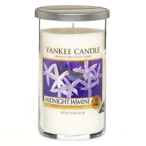 Yankee Candle bougie colonne moyenne « Jasmin de minuit », blanche