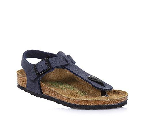 BIRKENSTOCK - Blaue Flip-Flops aus Nabukleder mit Fußbett aus Kork, Schnallenverschluss und anatomische Sohle, Jungen-29