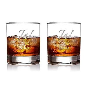 AMAVEL 2er Set Whisky Gläser mit Gravur zur Hochzeit - Motiv Ja! - Personalisiert mit Wunschnamen und Datum - Individuelle Whiskeygläser - Füllmenge: 320 ml