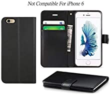 DN-Alive iPhone 6 Plus / 6s Plus Case Cover [High Quality Pu Leather] [Card Holder] [ID Holder] [Wallet Case] [Book Case] [Flip Case] [Drop Proof] For iPhone 6 Plus / 6s Plus Case (Black)