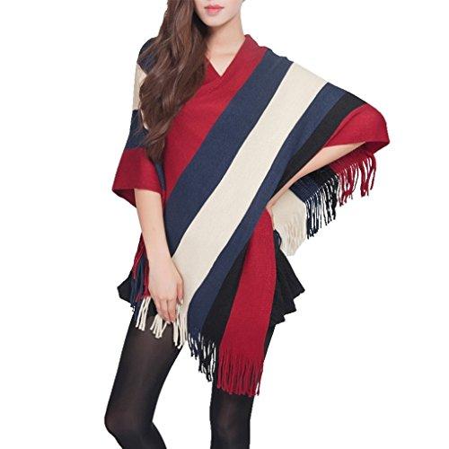 Poncho Donne Mantelle con Frange Eleganti Cappotti Scollo a V Pullover a Maglia Righe Oversize Sciarpe Grande Vintage Irregolare Asimmetrico Autunno Inverno - BienBien Rosso