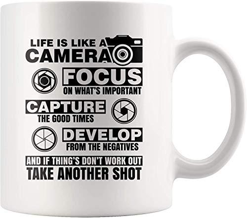 Funny Inspirational Mugs With Quotes Life Is Like A Camera Photographer Coffee Mug 11 oz Novelty Ceramic Coffee Tea Cup Mug White