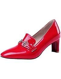 bdcb6e28 Coolulu Mujer Zapatos de Tacón Medio y Ancho Comodo Charol para Trabajo