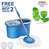 HOLME'S Mop with Bucket/mop / Magic mop/Magic Spin mop and Bucket/Microfiber Cleaning mop/Microfiber mop Head/Magic mop Bucket/Magic Floor mop/Floor Cleaning mop (Color May Vary)