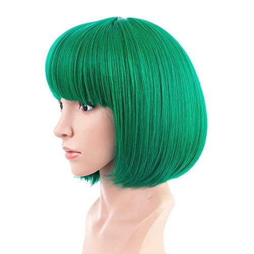Kurze Bob Gerade Perücken für Frauen Volle Perücke Natürliche synthetische Perücken Stil Haar für Cosplay/Halloween/Weihnachtsfeier mit Free Perigkappe(EINWEG) -