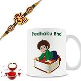 Illuminati Gifts Set Of Auspicious Lord Ganesha Rakhi & Padhaku Bhai Printed Multicolor Ceramic Coffee Mug - 325 Ml With Roli Chawal Tilak Pack Rakhi Raksha Bandhan Gift Combo For Brother Bhaiya Bhai Dada Veer Ji