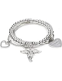 ANNIE HAAK 17cm Santi My Guardian Angel Silver Charm Bracelet, with Heart charm 'Laughter Love Life' Motto, Made with 925 Sterling Silver