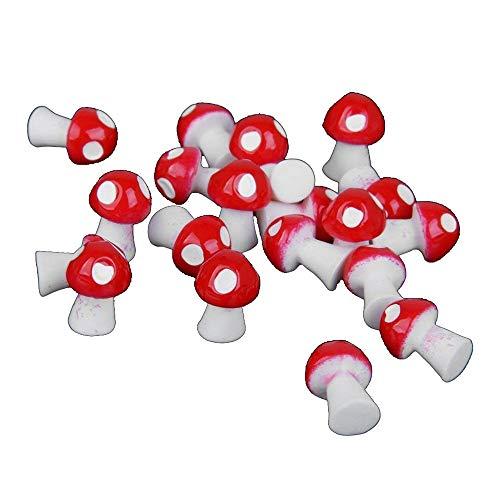 Descripción  Color: Rojo  Material: Resina  Tamaño: 1.1 x 0.9 cm  Es una seta muy linda, ha sido adecuada para micro paisaje de musgo  Jardinería decorativa pequeña y apropiada para una foto bonita con accesorios  Forma realista, mano de obra fina es...