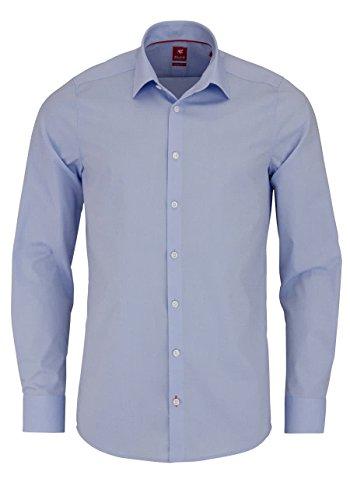 PURE Slim Fit Hemd Langarm New Kent Kragen Stretch hellblau Größe XS
