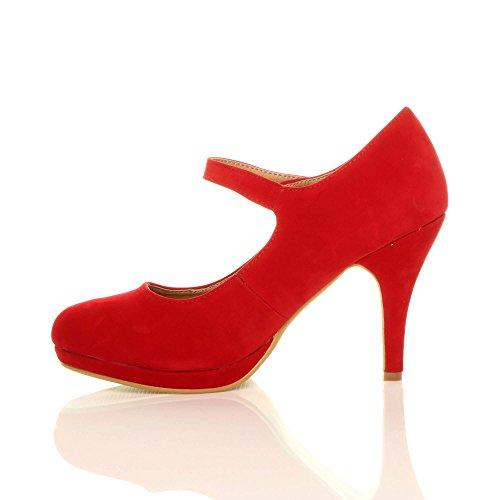 Damen Mittel Hoher Absatz Mary Jane Riemen Abend Elegant Pumps Schuhe Größe Rot Wildleder