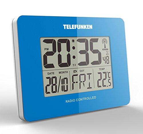 TELEFUNKEN FUD-40 (PE) LCD-Funkwecker mit Thermometer und Kalender Funk Uhr Wecker Innentemperatur Wochentag Datum Monat 10 x 3,5 x 7,5 cm (petrol)