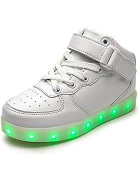 DoGeek Zapatos LED Niños Niñas 7 Color USB Carga Deportivas de Luces Zapatillas(Mejor Pedir Una Talla Más)