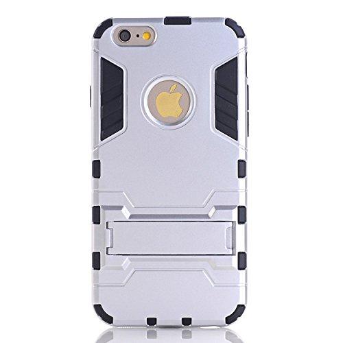 Guran Hülle Für Xiaomi Mi 4i [Stoßfestes Etui] Raffinierte Kombination aus Rutschfestem TPU Zubehör mit Standhalter Ganzkörper-Rugged Case (Silber)