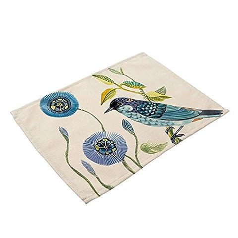 beiguoxia 45x32cm Vintage Bird Flower Insulation Table Mat Tableware Pad Kitchen Decor