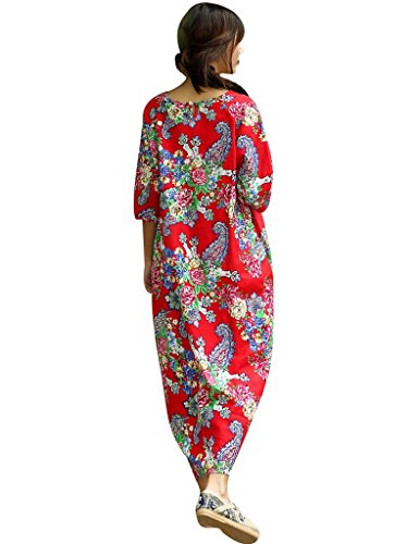 Youlee Frauen 3/4 Ärmel Seitentaschen Blumenkleid Rot Style 2