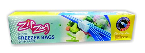 ZIPZAG Plastic Food Storage Re-Usable Bag Safe for Freezer & Microwave 10 Pcs (Clear)