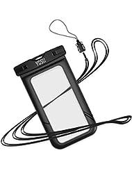 Wasserdichte hülle tasche beutel handyhülle [IPX8 Technische Zertifizierung] YOSH® für iPhone 6 6s Plus Schnorcheln Tauchen Samsung S6 S7 S8 Note LUMIA 950 Huawei BQ Aquaris, bis zu 6 Zoll.(Schwarz)