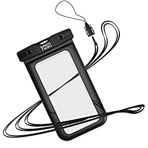 Custodia Impermeabile Universale per iPhone 6s 6 plus 5c 5s 5 se, Samsung Galaxy s7 s6 s5 edge plus, Huawei P9 P8, LG, HTC M8, M9 Plus, ecc IPX8 ✪ Durata della Garanzia ✪ YOSH® (Nero)