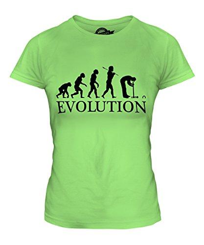CandyMix Croquet Crocket Evolution Des Menschen Damen T Shirt, Größe Small, Farbe (Perücke Grün Lime)