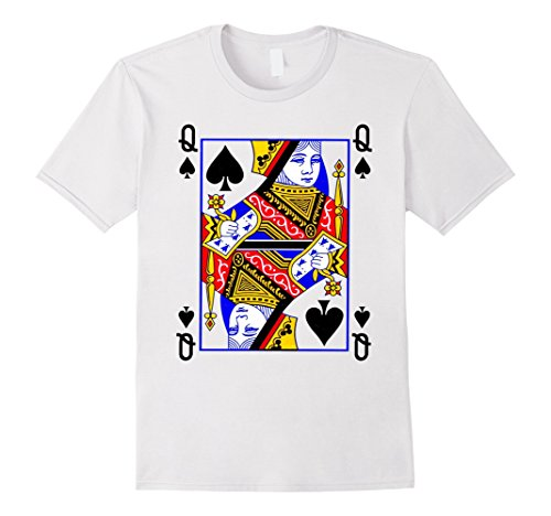 Playing Queen Costume Card (Queen of Spades Playing Card Poker Costume Card Tee Shirt Herren, Größe M)