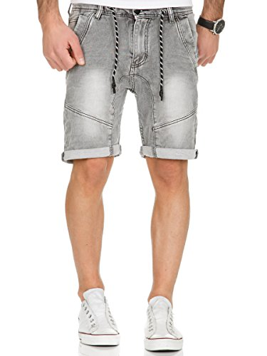 Urban Surface Jogg Jeans Shorts kurze Hose Bermuda Herren Denim Sweatpants Joggjeans Vintage Used Look Middle Grey H-1318/4KG42