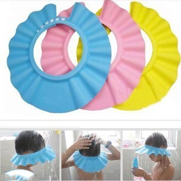 Shopo's Adjustable Baby Shower Bath Bathing Cap and Face Shield