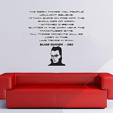 Perso nel tempo, come Lacrima Nella Pioggia Wall Sticker Blade Runner Adesivo Art disponibile in 5 dimensioni e 25 colori Extra Grande Bianco - Adesivo Runner