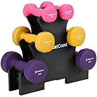 Gold Coast 12kg Neoprene Dumbbell Set with Rack | Free Weights for Strength Training in the Gym or Home Fitness | Storage Stand Included