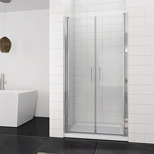Duschkabine Duschtür Rahmenlos Nischentür Doppel Pendeltür Duschabtrennung 90x195cm | 6mm ESG Sicherheitsglas -