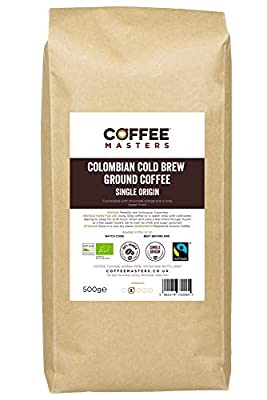 Coffee Masters Cold Brew Ground Coffee 500g - Colombian Organic Fairtrade - New